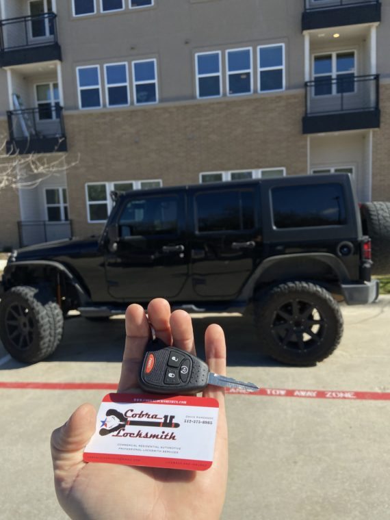 New remote key replacement for Jeep Wrangler near by Austin TX