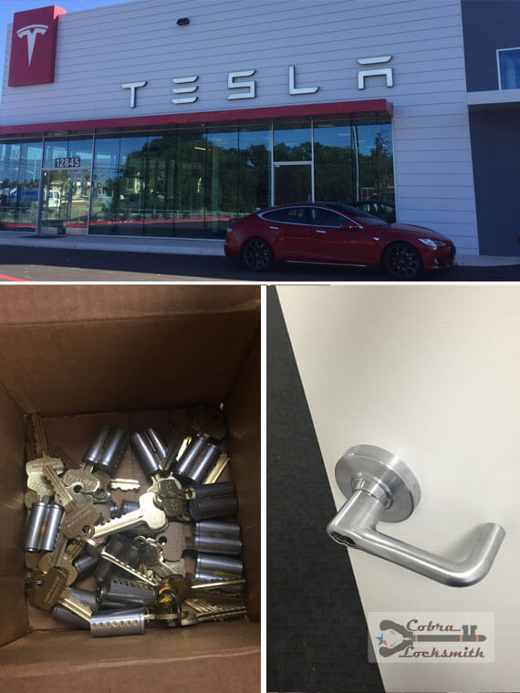 Installation of new interchangeable cores for Tesla in Austin