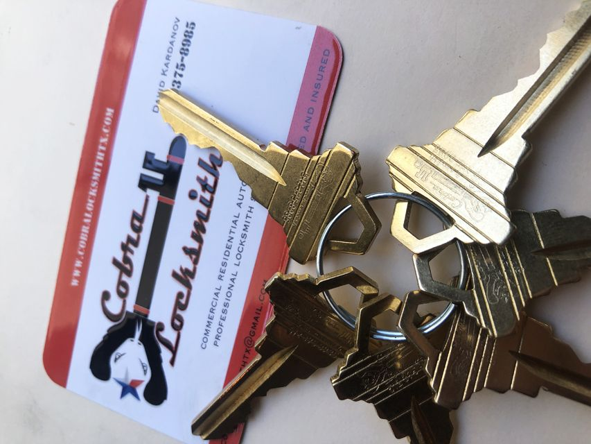 Keys with business card
